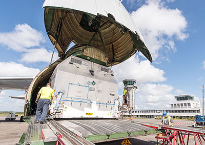 nbn's Sky Muster II satellite is unloaded from a cargo jetliner following its delivery to French Guiana