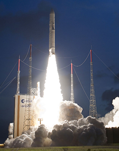 Ariane 5 lifts off from the Spaceport carrying a record payload mass with its Yahsat Y1A and Intelsat New Dawn satellite passengers.