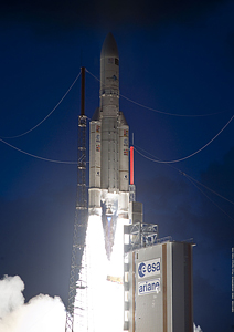 This evening's liftoff was the 199th flight of an Ariane family vehicle from the Spaceport in French Guiana, and the 41st consecutive success for Ariane 5.