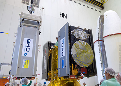 Three of four Galileo satellites are being installed on their dispenser system