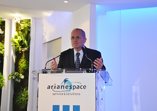Chairman & CEO Jean-Yves Le Gall outlines Arianespace's commercial launch services attributes during the company's Paris Air Show press conference at Le Bourget Airport.