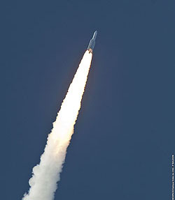 Ariane 5 ascends from the Spaceport during today's daytime launch, powered by its two solid propellant boosters and core cryogenic stage.