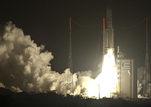 Ariane 5 makes an on-time liftoff from the ELA-3 launch zone with its dual payload of the W3B and BSAT-3b satellites.