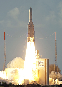 Ariane 5's mission with NILESAT 201 and RASCOM-QAF1R was performed from the Spaceport's ELA-3 launch zone.
