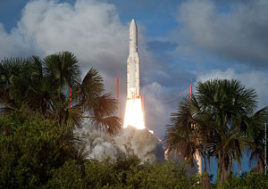 Today's daytime liftoff was the 196th flight of an Ariane family vehicle from the Spaceport in French Guiana, and the 52nd mission for Ariane 5.