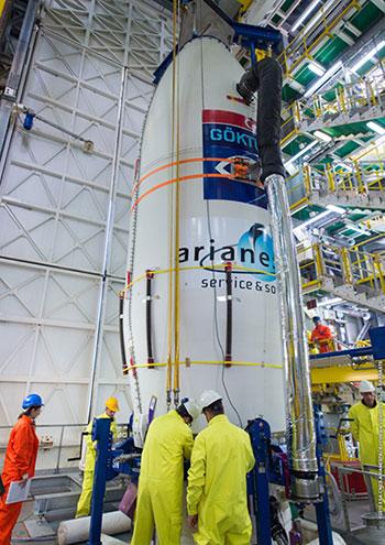 GÖKTÜRK-1 integrated on Vega launcher for Arianespace Flight VV08