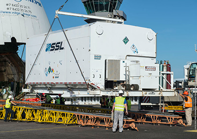 JCSAT-15 removed from container after arrival in French Guiana for Arianespace Ariane 5 Flight VA234