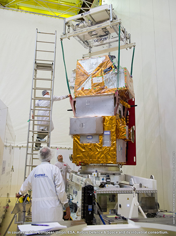 Sentinel-2B shown during pre-launch checkout at the Spaceport