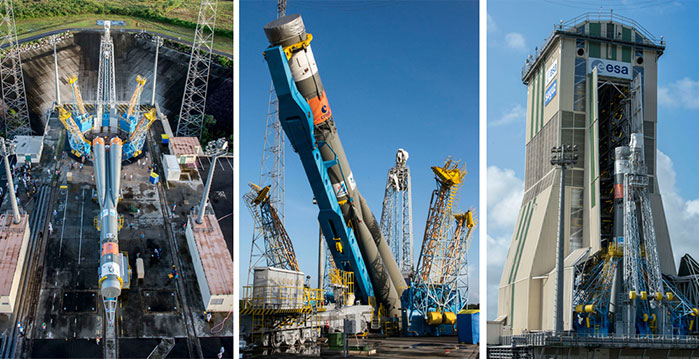 This three-photo series highlights the Soyuz erection sequence ahead of Arianespace Flight VS16.