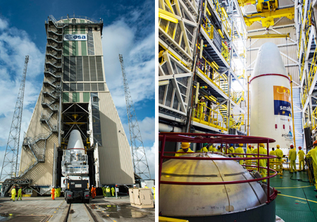Hispasat 36W-1's installation on Soyuz is a key preparation step for Arianespace's Flight VS16