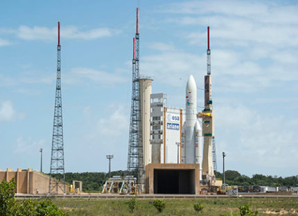 Ariane 5 is moved into position in the Spaceport's ELA-3 launch zone
