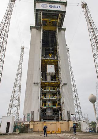 AVUM upper stage hoisted for installation atop Vega