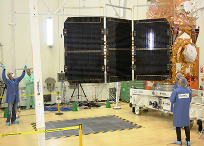Solar panel deployment test for Sentinel-2B satellite