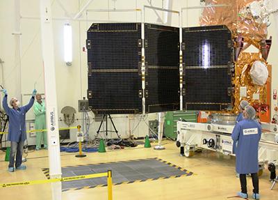 Solar panel deployment test for Sentinel-2B satellite