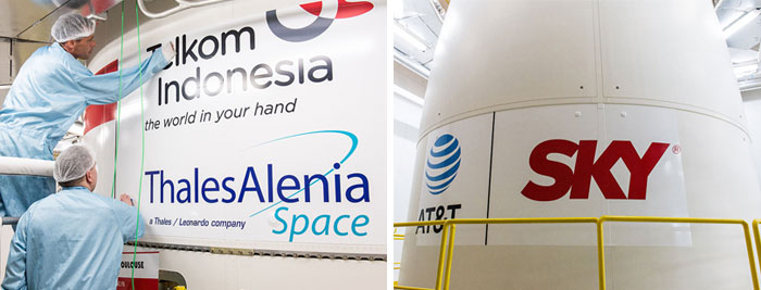 Decals for Telkom 3S and SKY Brasil-1 are installed on the Ariane 5 payload fairing