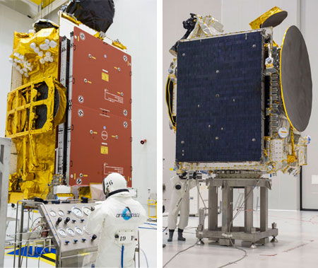 SKY Brasil-1 and Telkom 3S are fueled during separate activity at the Spaceport in French Guiana