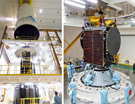 SGDC and KOREASAT-7 are integrated on the Ariane 5 launcher for their March 21 liftoff