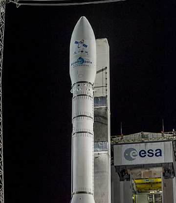 Vega's payload fairing is positioned at the top of the rocket.