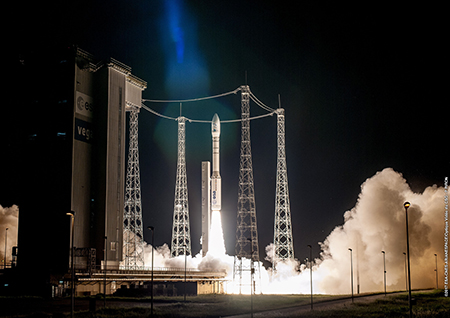 The launch pad glows with the light of Vega's successful liftoff.