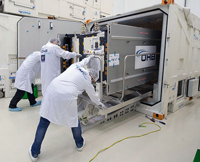 One of the latest-delivered Galileo satellites is removed from its protective shipping container