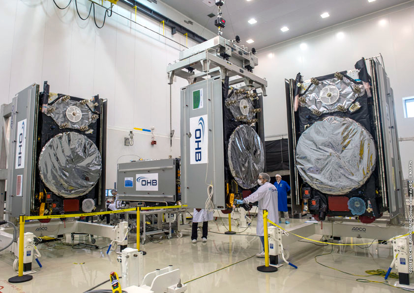 Four Galileo FOC satellites inside the Spaceport's S1A processing facility