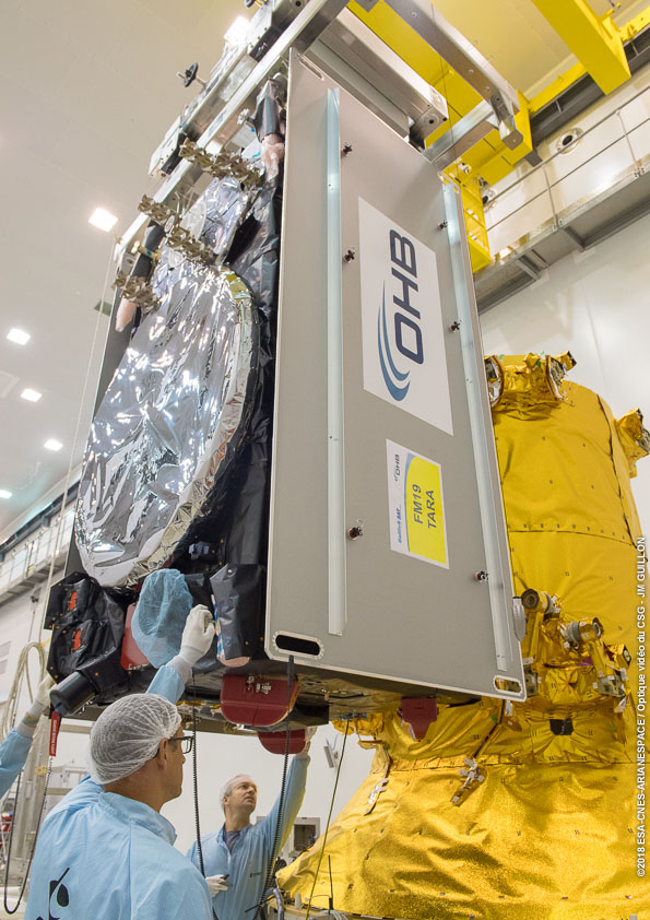 One of the four Galileo satellites undergoes its fit-check process