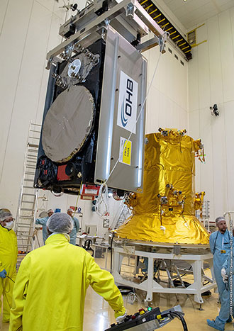 One of the four Galileo FOC satellites is installed on its dispenser