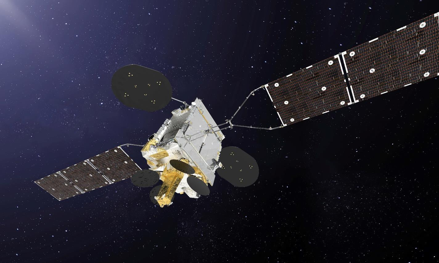 Artist's Rendering of Inmarsat GX5 satellite.