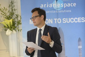 Speaking with reporters at Arianespace's press conference in Paris today, Chairman & CEO Stéphane Israël outlined the company's contracts signed in 2015 and detailed its launch planning through year-end.