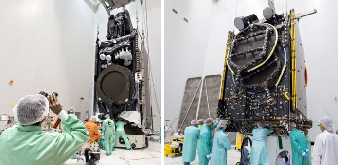 Intelsat 33e and Intelsat 36 are prepared for their Ariane 5 launch on August 24