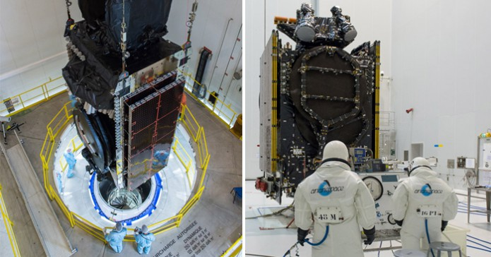 The Intelsat 33e and Intelsat 36 satellites undergo separate payload preparations at the Spaceport in French Guiana