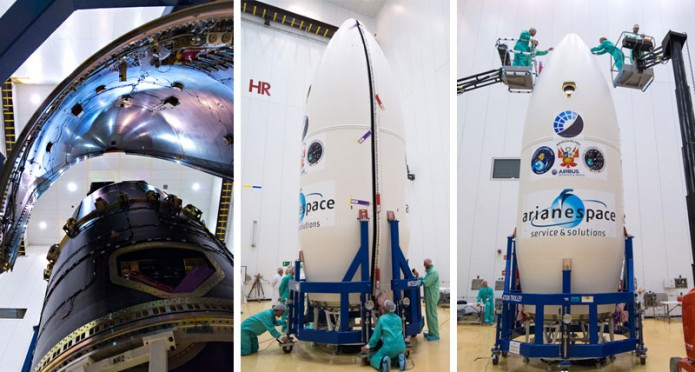 Encapsulation of the passengers for Arianespace's next Vega mission