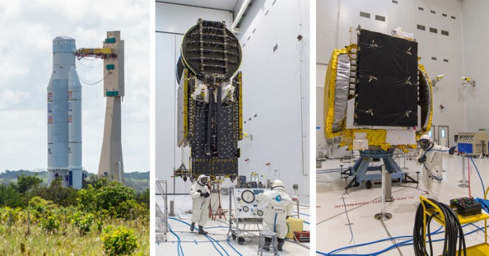 Parallel preparations for Arianespace Flight VA231's Ariane 5 launcher, plus the Sky Muster II and GSAT-18 payloads