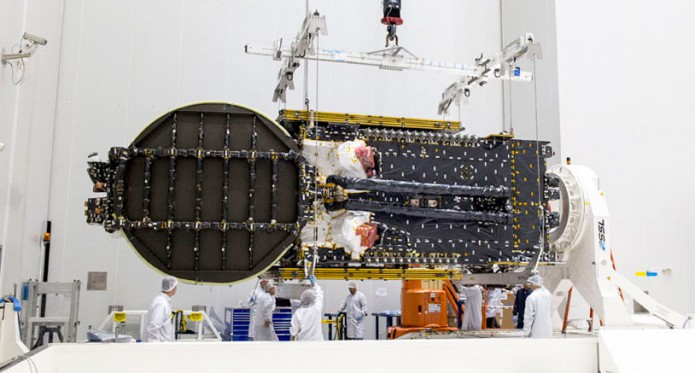 nbn's Sky Muster™ II removed from protective shipping container in the Spaceport's S5 payload preparation facility
