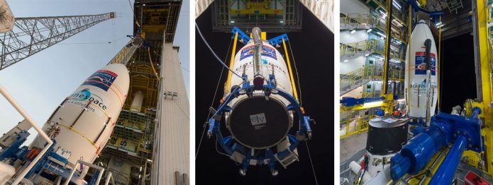 The GÖKTÜRK-1 payload for Arianespace's Vega Flight VV08 is hoisted for launcher integration.