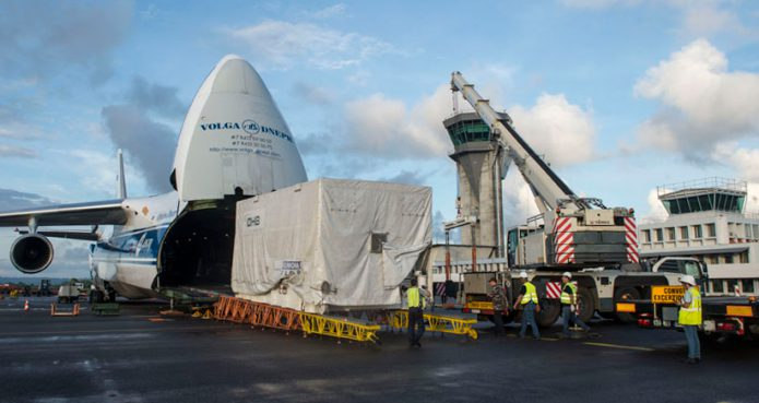 The Hispasat 36W-1 satellite is unloaded from the Antonov An-124 cargo jetliner after its delivery to French Guiana.