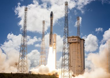 Vega lifts off from French Guiana on a mission that successfully deployed Turkey's GÖKTÜRK-1 Earth observation satellite into Sun-synchronous orbit. Flight VV08. GÖKTÜRK-1
