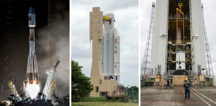 Parallel preparations for Arianespace flights in 2017 with Ariane 5, Soyuz and Vega