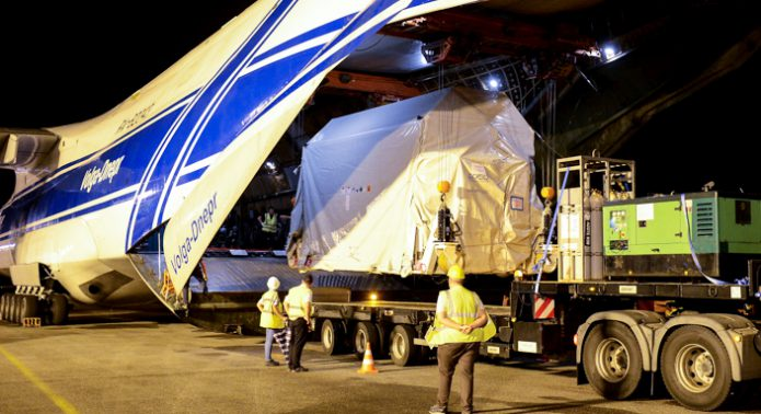 Sentinel-2B removed from cargo jetliner after delivery to the Spaceport in French Guiana for Arianespace Flight VV09 with Vega