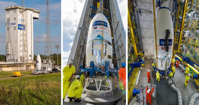 Build-up of the Vega launch vehicle for Arianespace's Flight VV09
