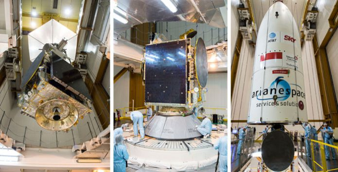 Ariane 5 receives its satellite passengers for Arianespace's Flight VA235: SKY Brasil-1 and Telkom 3S