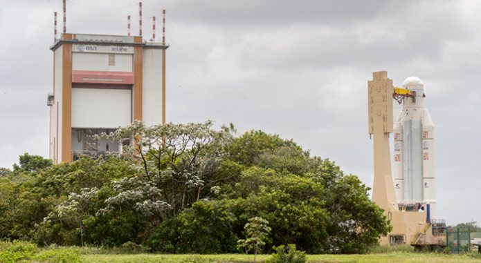 Ariane 5 transfer from Final Integration Building to Final Assembly Building