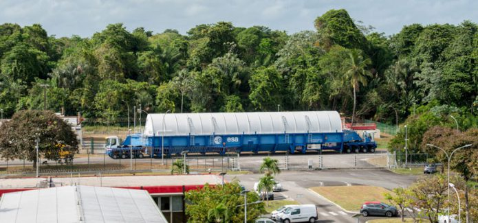 The Flight VA240 Ariane 5's cryogenic main stage is transported across the Spaceport in French Guiana