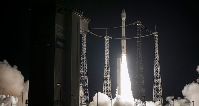 The light-lift Vega ascends from the Spaceport