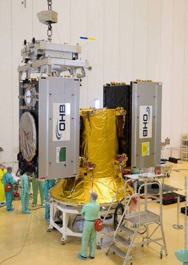 Two of the four Galileo satellites are shown being installed on their dispenser system. Flight VA240. Four Galileo spacecraft