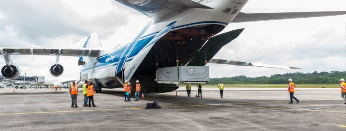 Initial hardware for the BepiColombo mission is unloaded in French Guiana