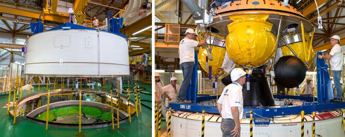 Installation of Ariane 5's vehicle equipment bay and EPS storable propellant stage
